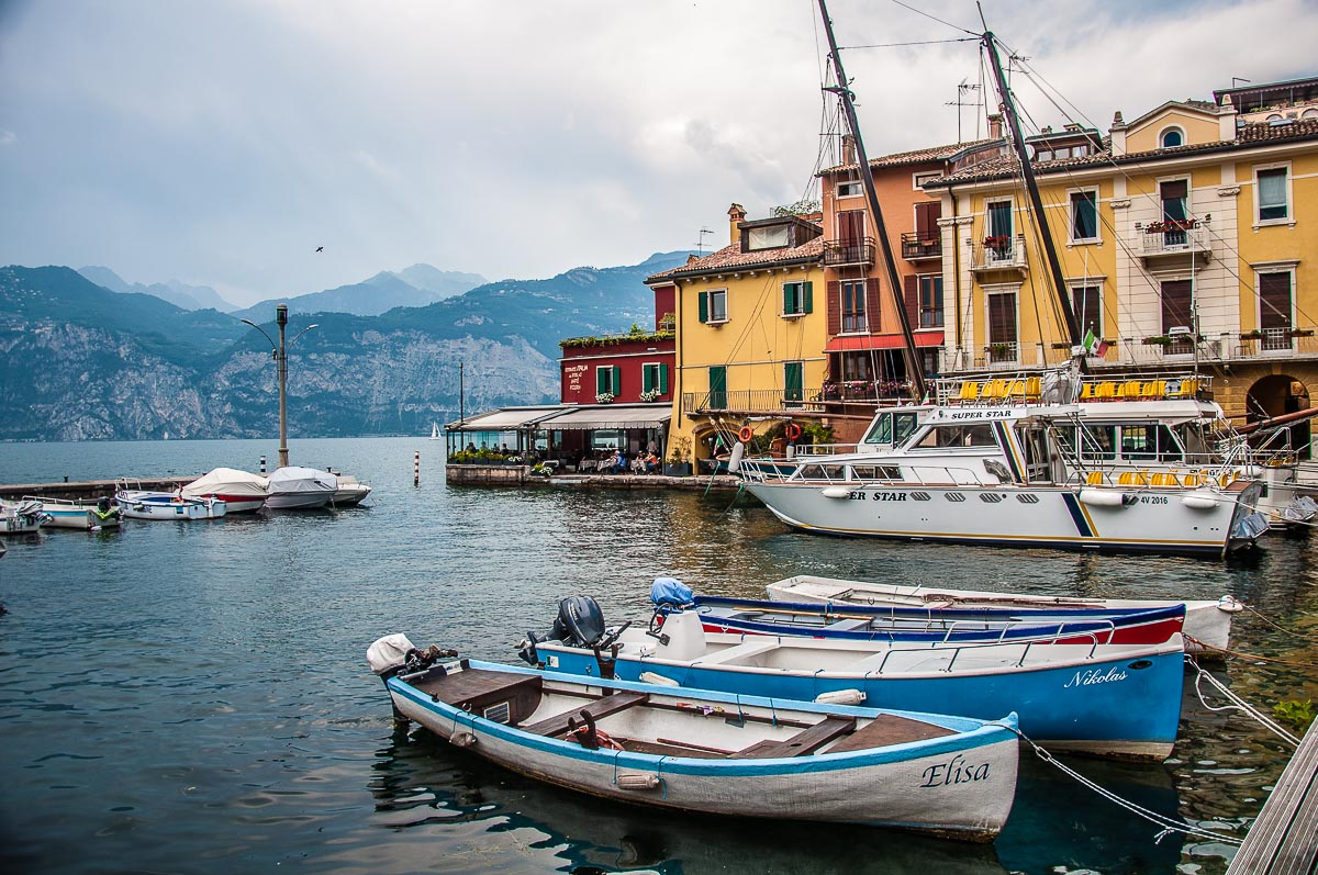 The harbour in the historic centre with a view of Lake Garda - Malcesine, Italy - rossiwrites.com